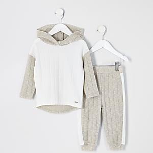 Mini – Cremefarbenes, bequemes Hoodie-Outfit in Blockfarben für Mädchen