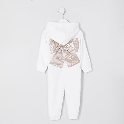 Mini girls cream cosy bow back onsie