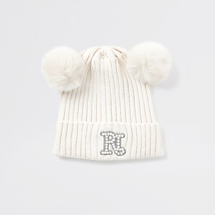Mini girls cream double pom pom beanie hat