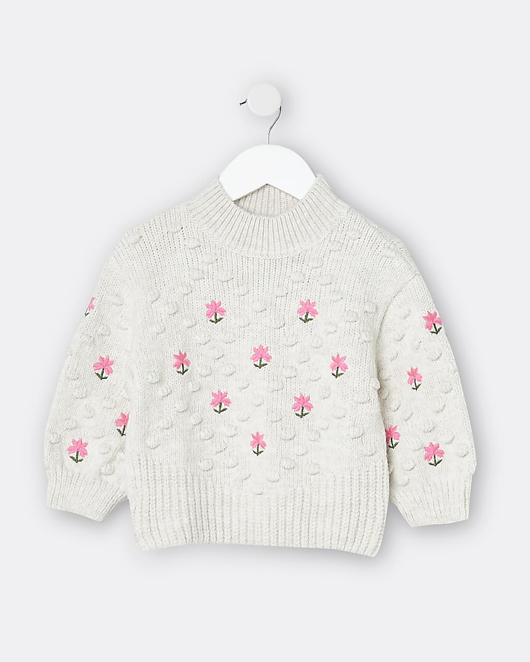 Mini girls cream embroidered knit jumper