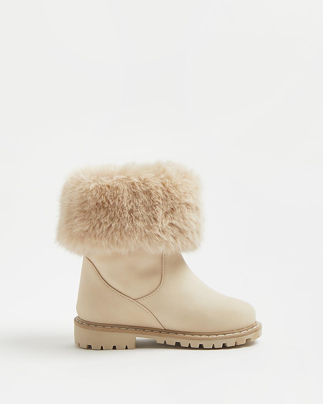 Mini girls cream faux fur boots