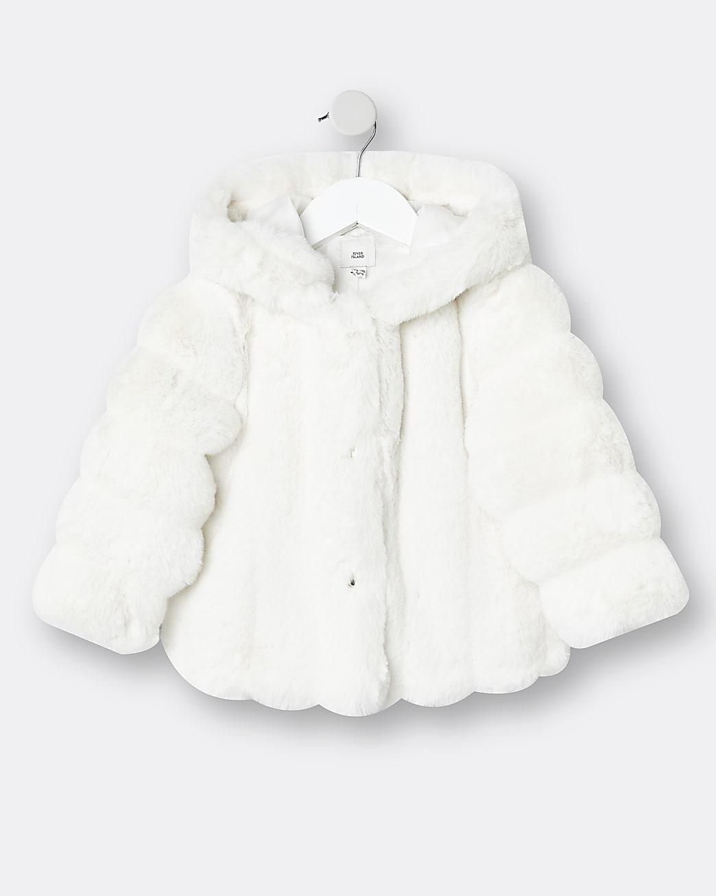 Mini girls cream faux fur hood coat