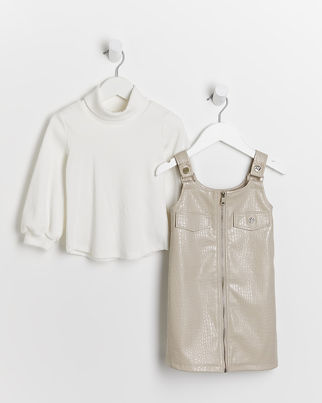 Mini girls cream faux leather dress outfit