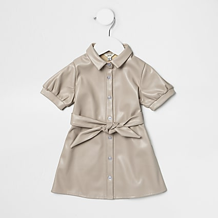 Mini girls cream faux leather shirt dress