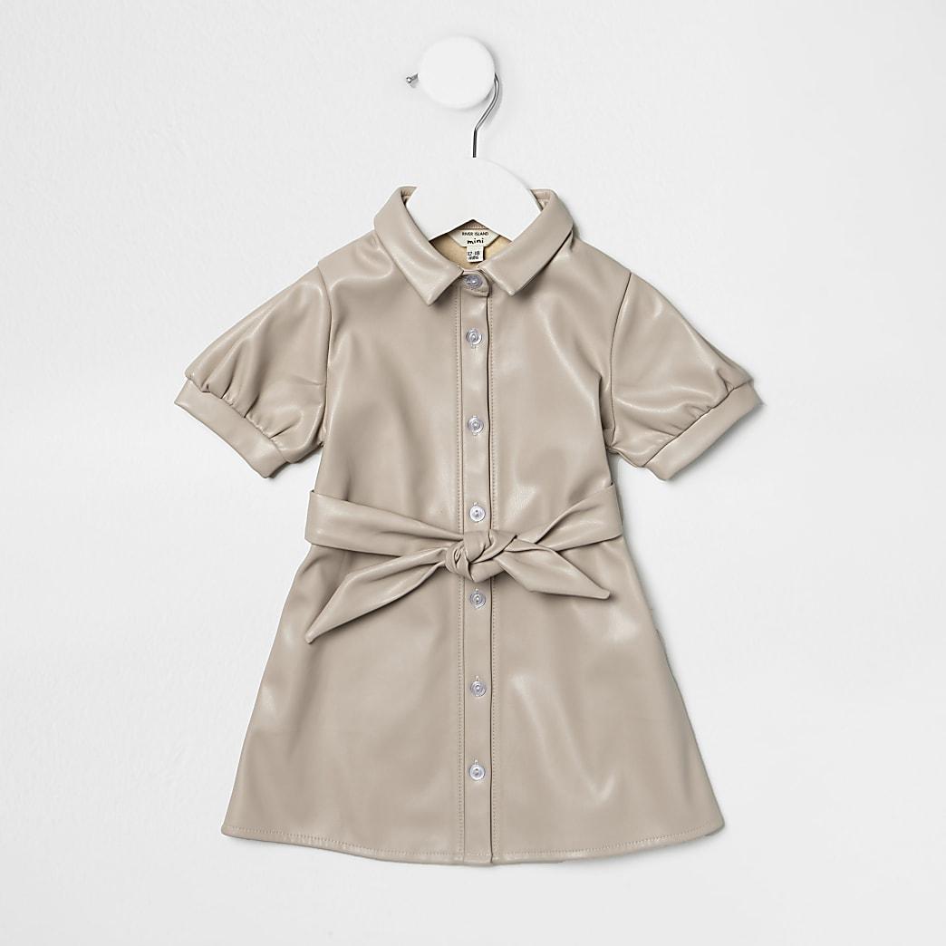 Mini girls cream faux leather shirt dress