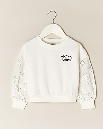 Mini girls cream floral back print sweatshirt