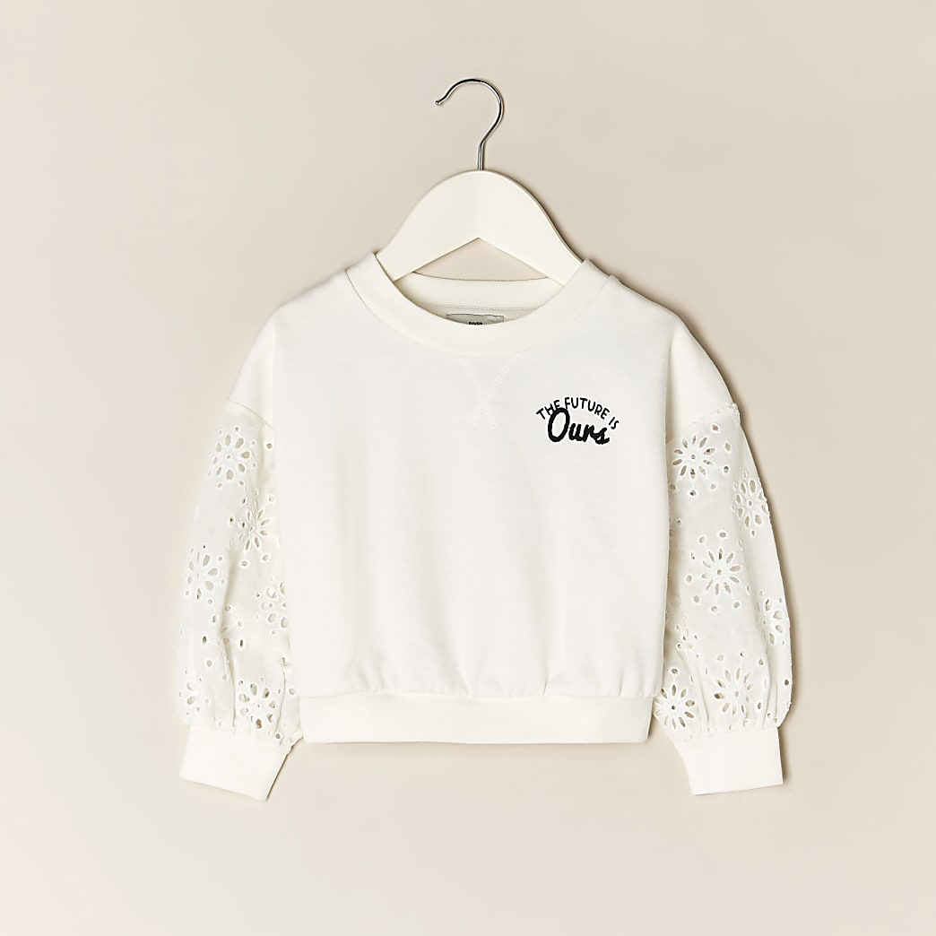 Mini girls cream floral back print sweatshirt