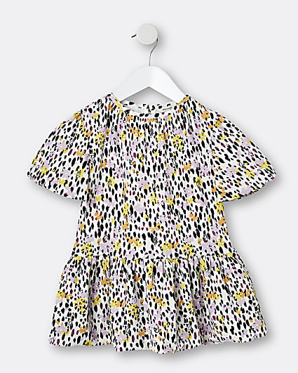 Mini girls cream floral print smock dress