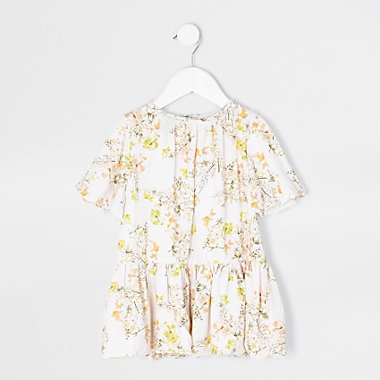 Mini girls cream floral smock dress