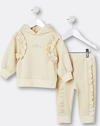 Mini girls cream frill scuba hoodie outfit
