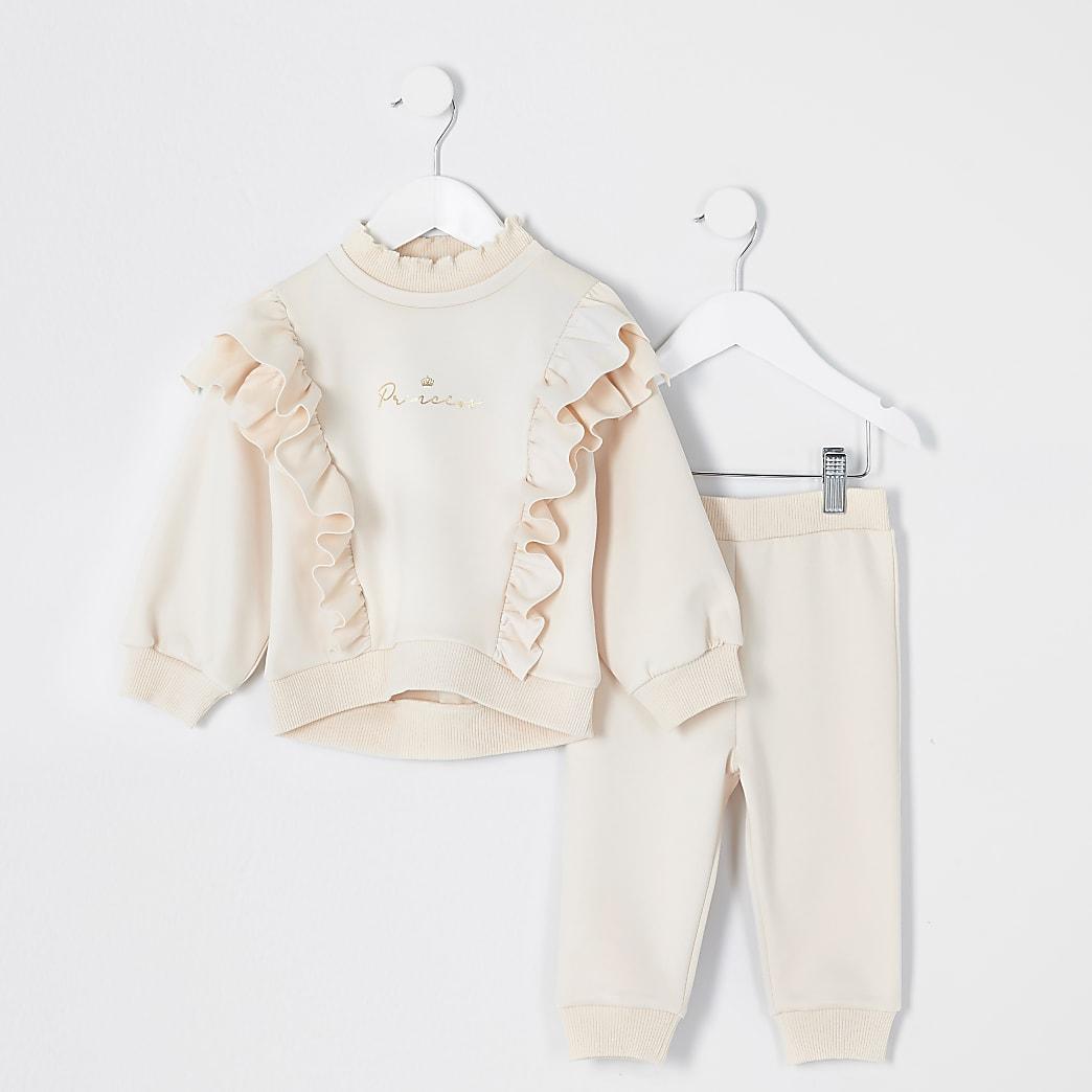 Mini - Outfit met crème sweatshirt met ruches voor meisjes
