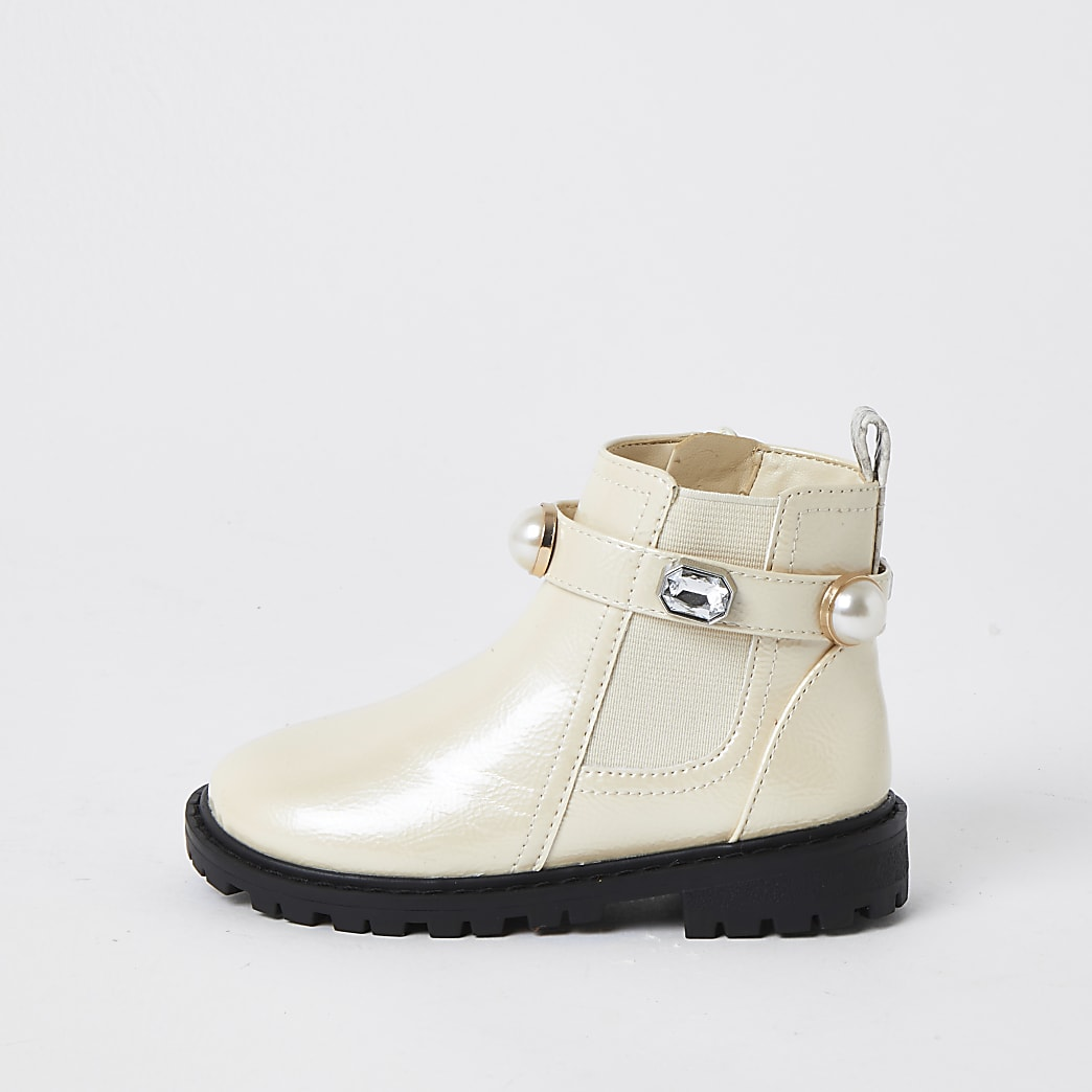 Mini girls cream gem strap chelsea boots