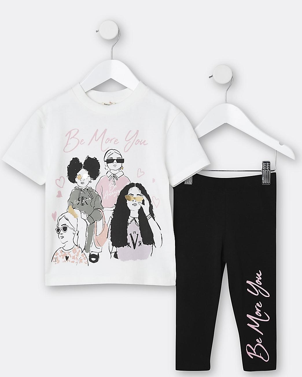Mini girls cream girl graphic legging set