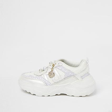 Mini girls cream glitter lace up trainers