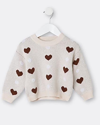 Mini girls cream heart print jumper