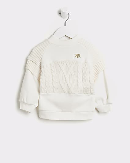 Mini girls cream hybrid cable knit jumper