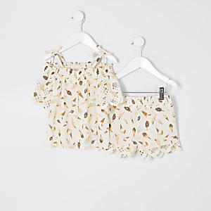 Mini - Crèmekleurige cami outfit met ijsprint voor meisjes