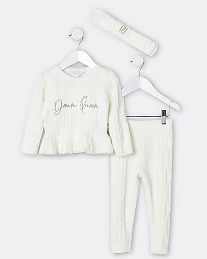 Mini girls cream knit lounge 3 piece outfit