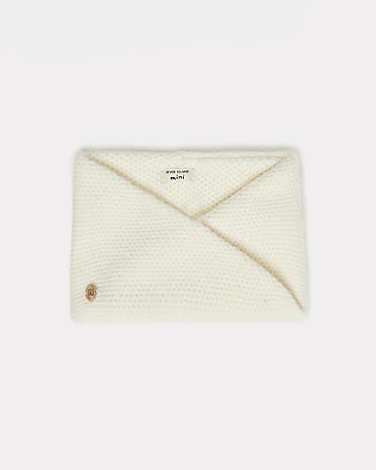 Mini girls cream knit twisted snood