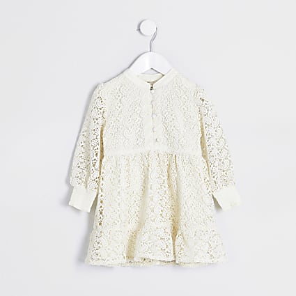 Mini girls cream lace button skater dress