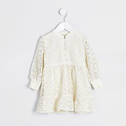 Mini girls cream lace button skater dress