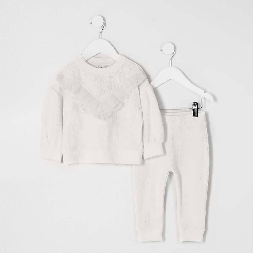 Mini girls cream lace frill cosy sweat outfit