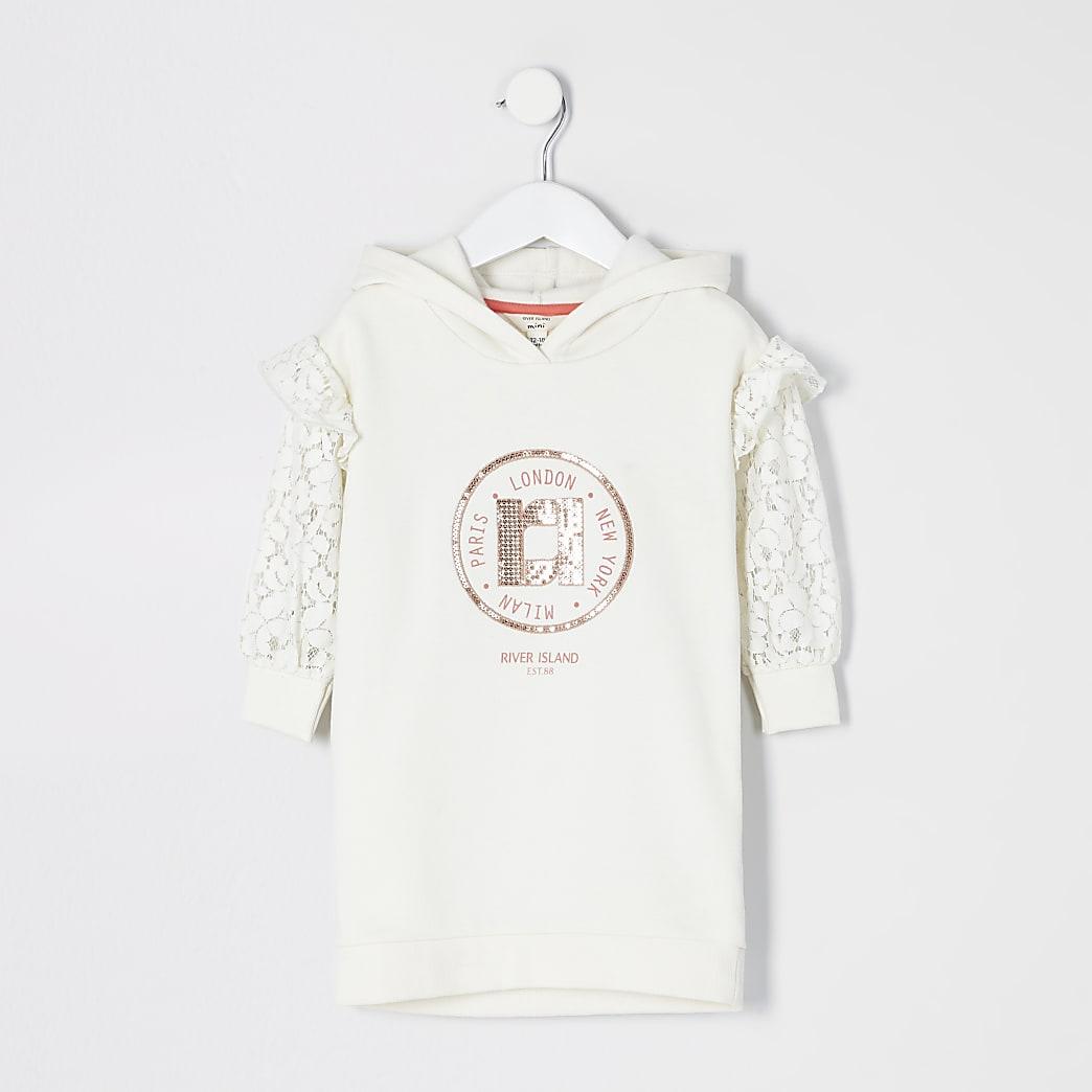 Mini girls cream lace sleeve sweatshirt dress