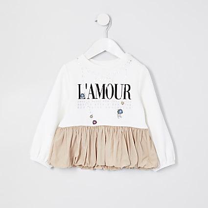 Mini girls cream 'L'amour' puffball sweat