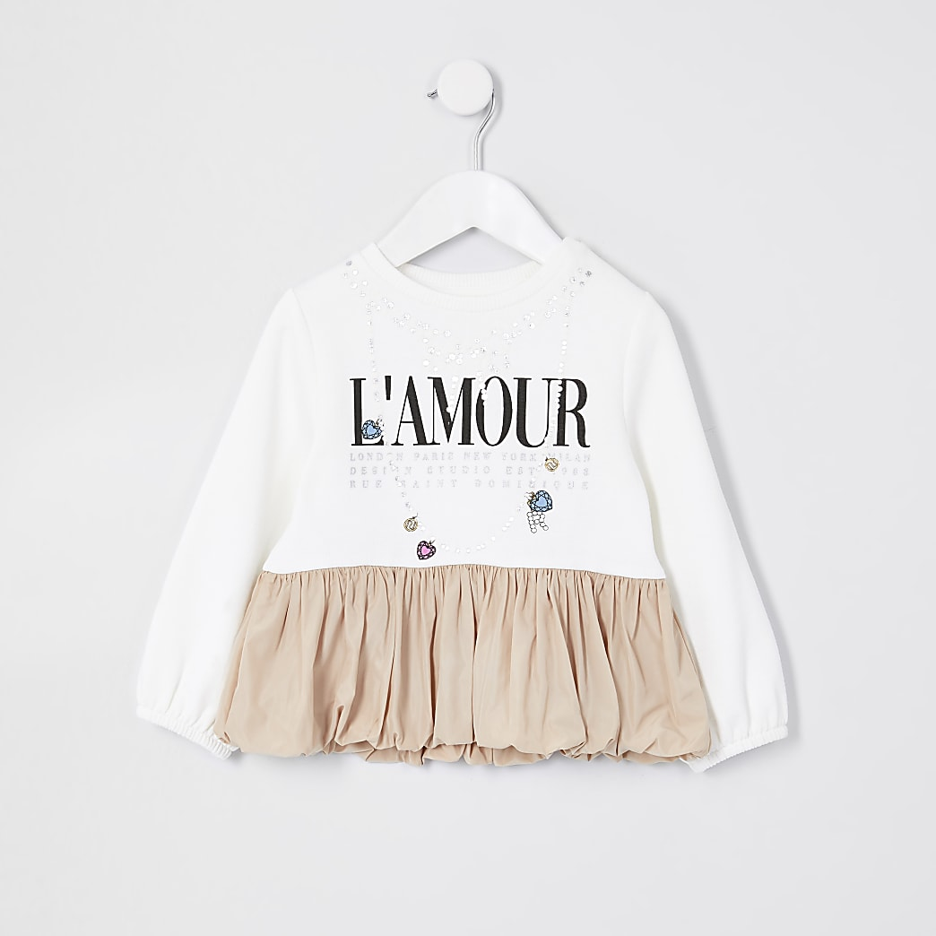 Mini girls cream 'L'amour' puffball sweat