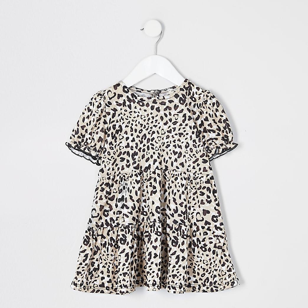 Mini - Crèmekleurige gesmokte jurk met luipaardprint voor meisjes