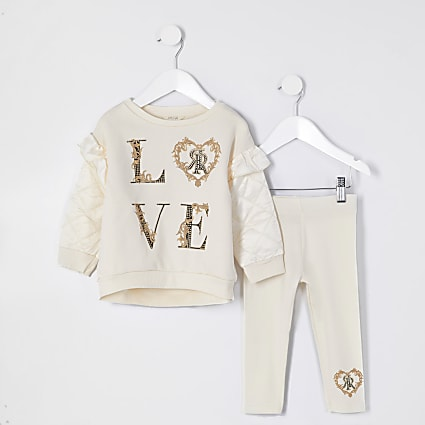Mini girls cream 'Love' quilted sleeve outfit