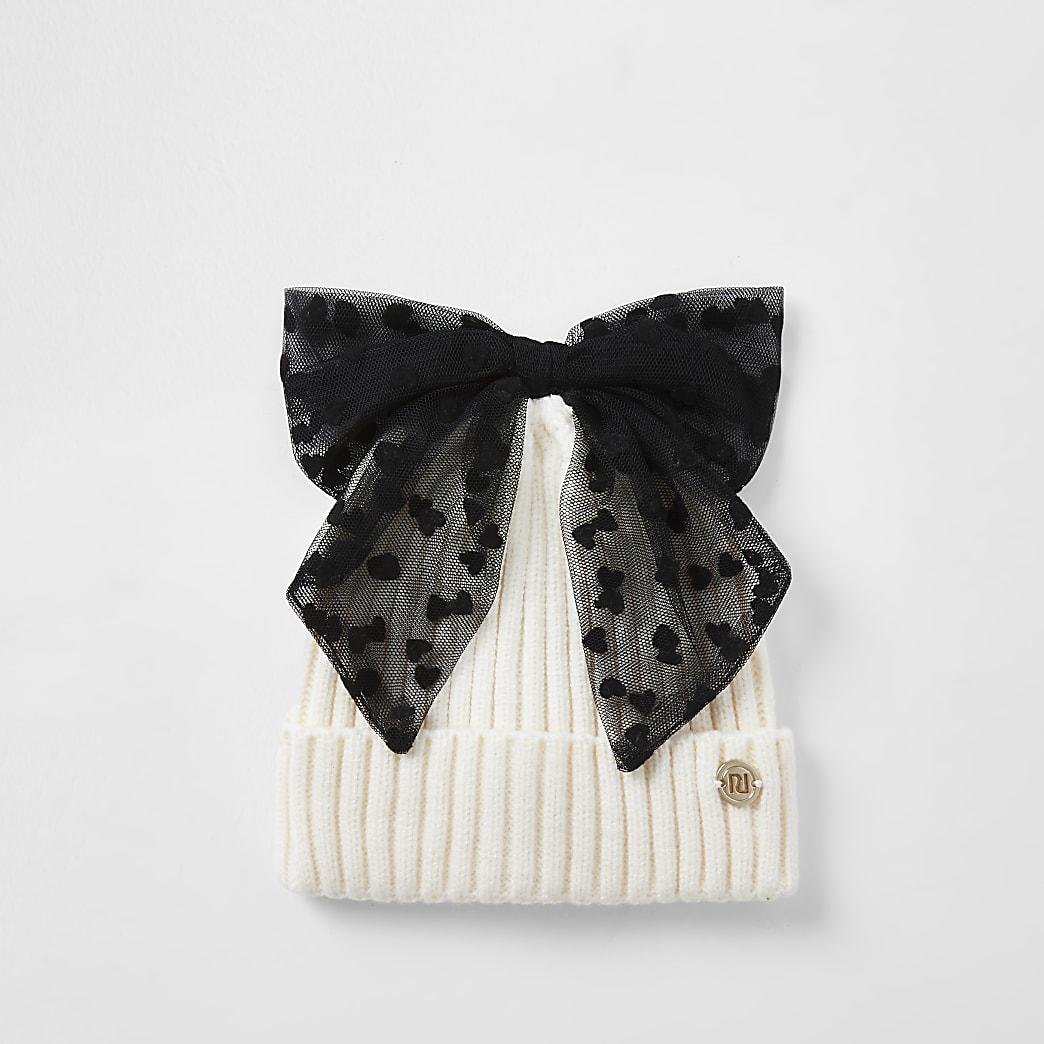 Mini girls cream mesh bow beanie hat