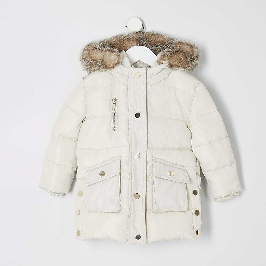 Mini girls cream padded printed longline coat