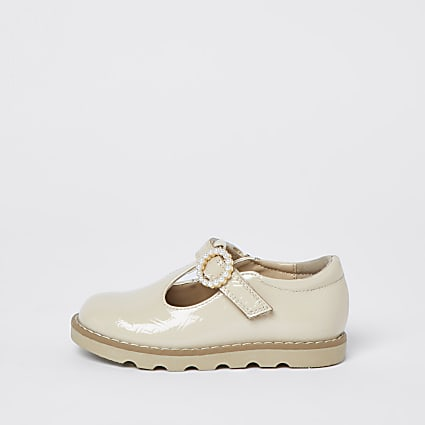 Mini girls cream patent real leather shoe