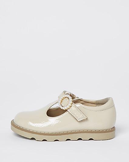 Mini girls cream patent real leather shoe