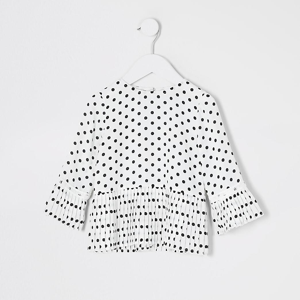 Gepunktete Bluse mit Falten in Creme für kleine Mädchen