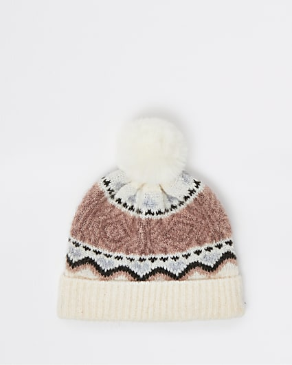 Mini girls cream pom pom beanie hat
