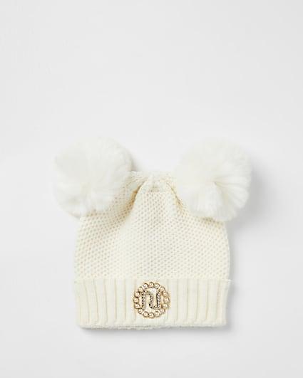 Mini girls cream pom pom pearl beanie hat