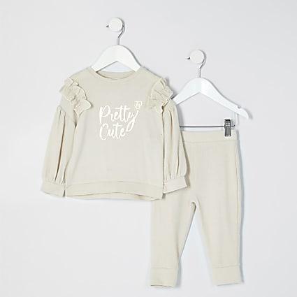 Mini girls cream 'Pretty cute' print outfit