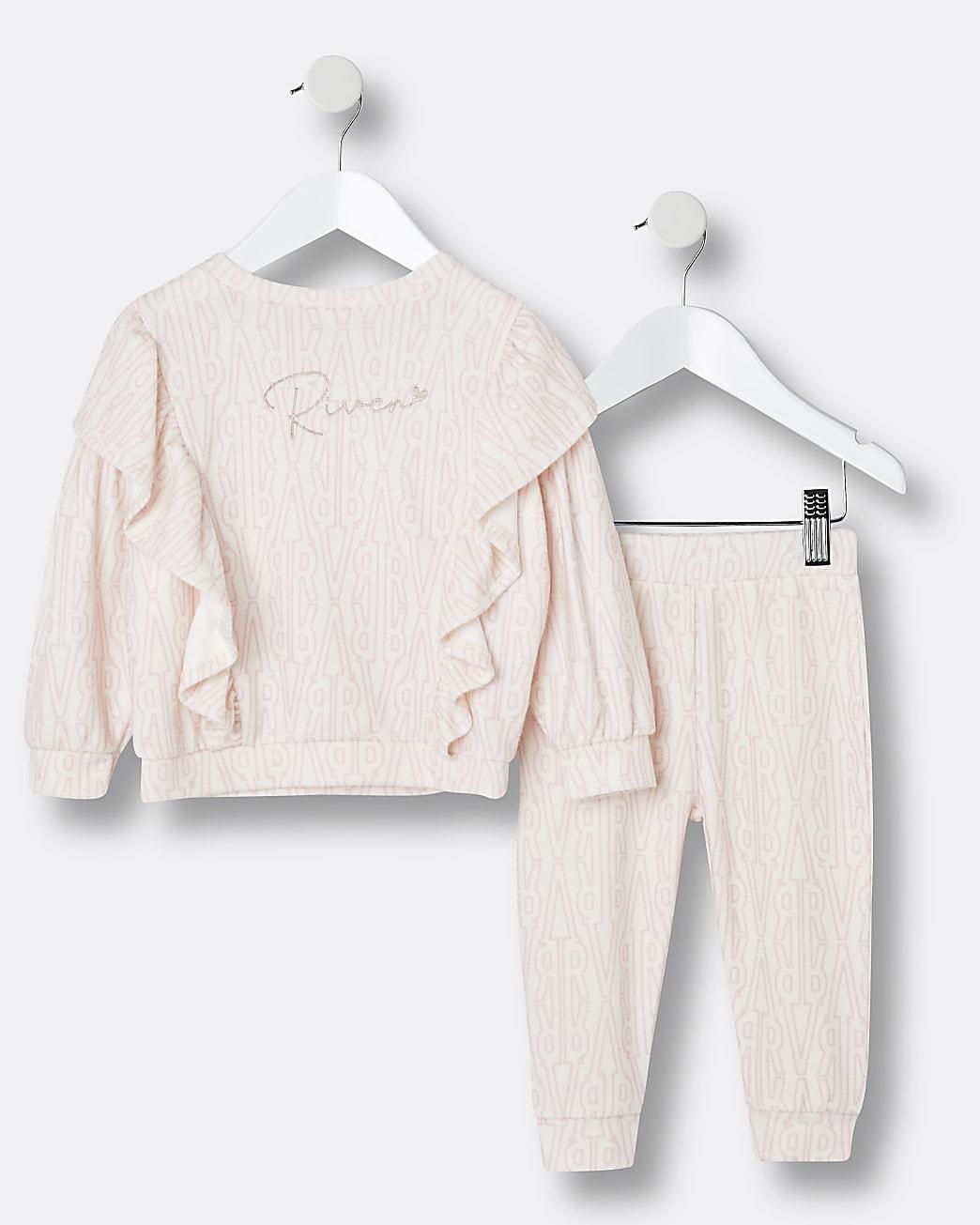 Mini girls cream RI cosy sweatshirt outfit