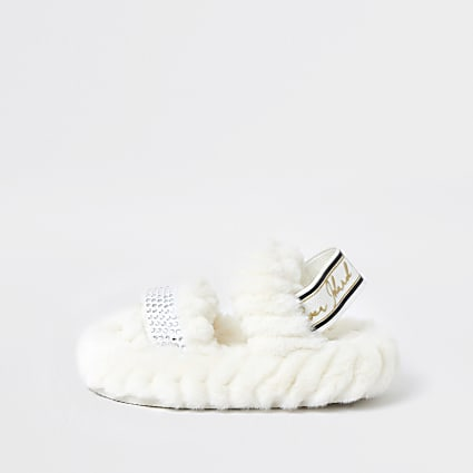 Mini girls cream RI faux fur slippers
