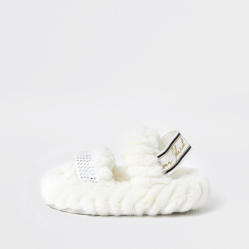 Mini girls cream RI faux fur slippers