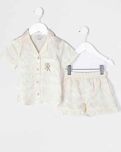 Mini girls cream RI satin pyjamas