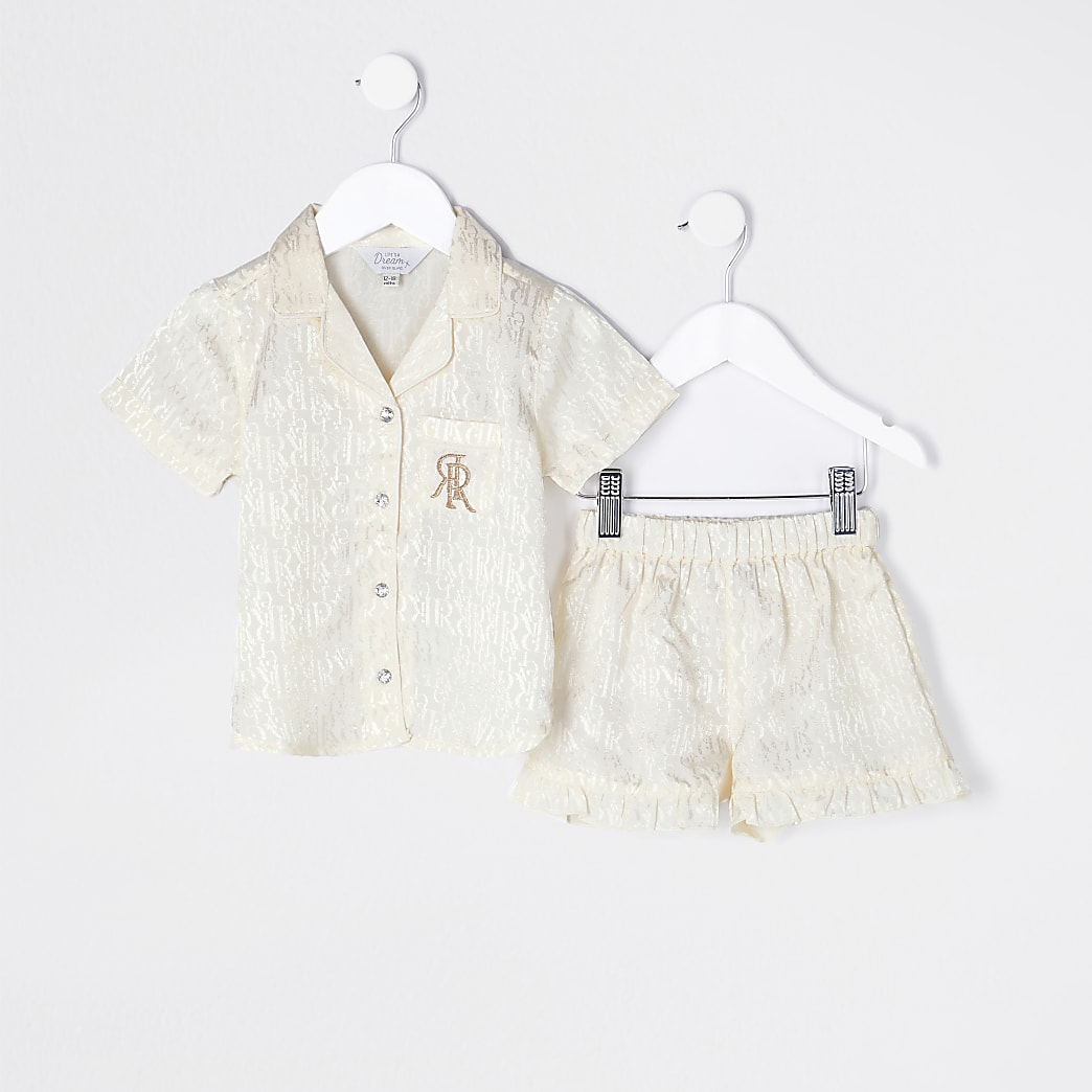 Mini girls cream RI satin pyjamas