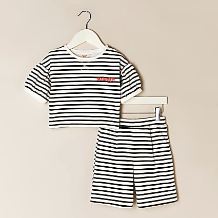 Mini girls cream stripe short outfit