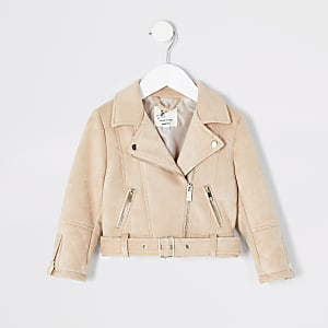 Mini girls cream suedette belted biker jacket
