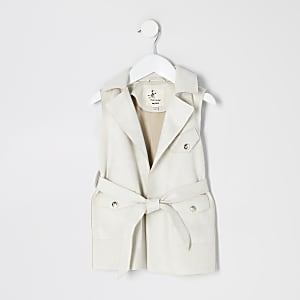 Mini girls cream suedette sleeveless jacket
