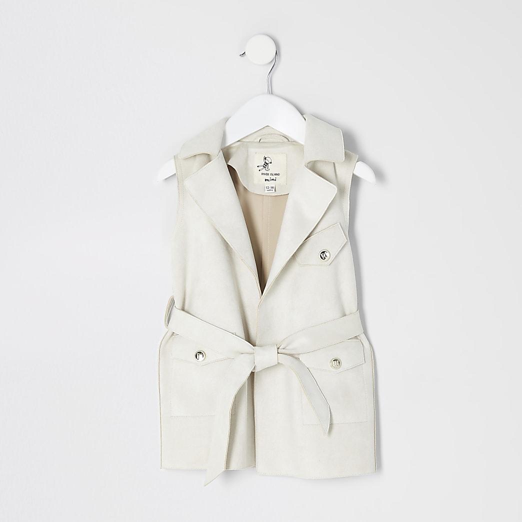 Mini – Ärmellose Jacke aus Wildlederimitat in Creme
