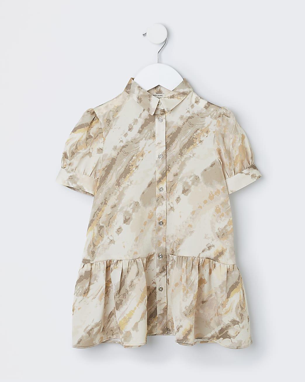 Mini girls cream tie dye shirt dress