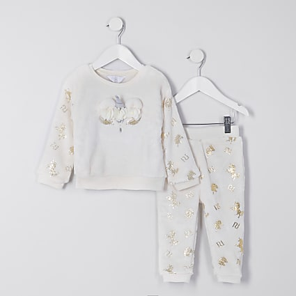 Mini girls cream unicorn cosy pyjama set